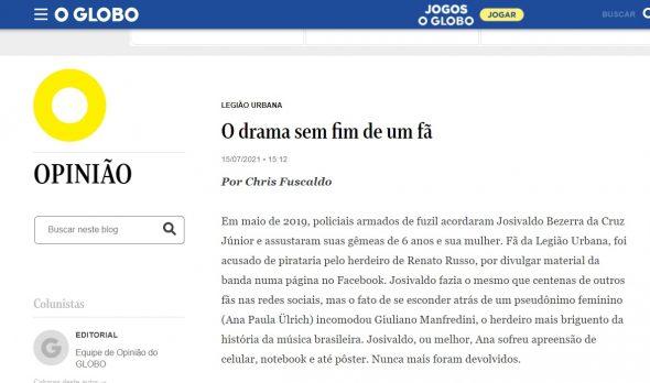 Artigo Legião Urbana no jornal O Globo